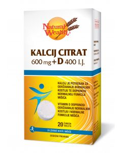 NW Kalcij citrat 600 mg + D 400 I.J. 20 šumećih tableta